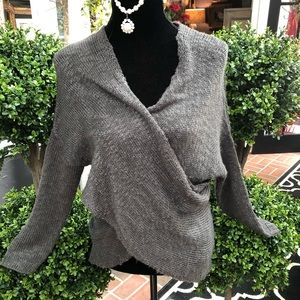 Olive Grey cross cross front sweater long sleeve